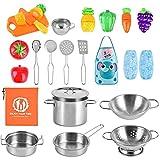 AMOYEE Küchenspielzeug Zubehör Kinderküche Kochgeschirr Edelstahl Pfannenset Schürze und Lebensmittel für Mädchen und Jungen
